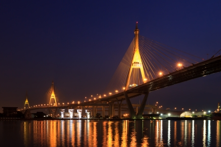 Bridge over river at twillight bangkok, thailand photo