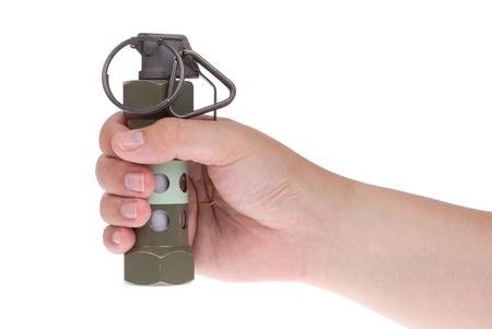 lanzamiento de bala: Flashbang granada en la mano aislados en blanco Foto de archivo