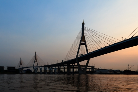 Bhumibol bridge over Chao Phraya river at twillight photo