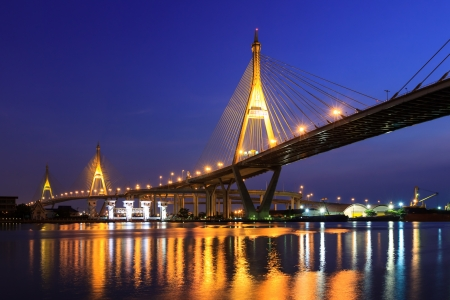 Large bridge over Chao Phraya river at twillight photo