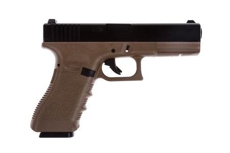 glock: Two tones modern pistol on white back ground