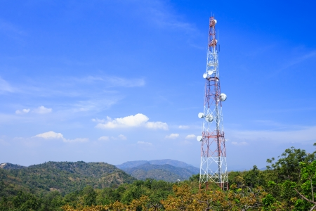 antenna: Communications tower on mountain with blue sky