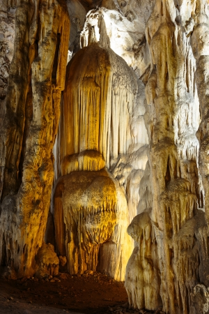 Beautiful stalactites in Khao Luang cave, Petchaburi, Thailand