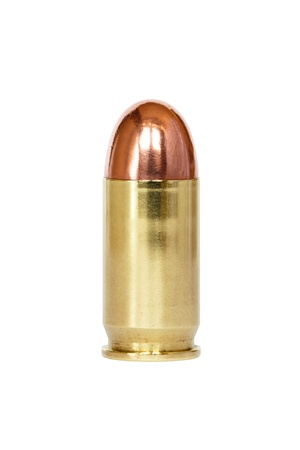 9 mm or .357 bullet on white background