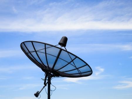 sattelite: Home satellite dish receiver with blue sky Stock Photo