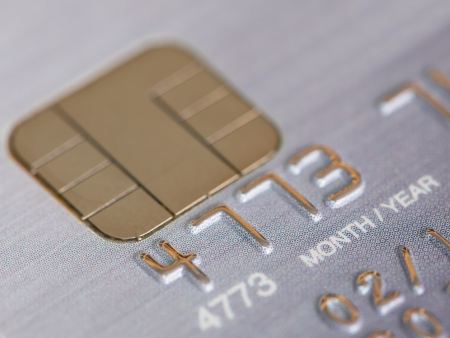 Platinum credit card with micro chip selective focus photo