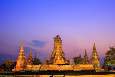 Wat Chaiwatthanaram at twilight, Ayutthaya, Thailand