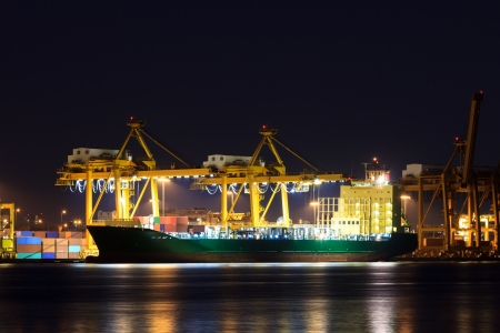 Container cargo freight ship at port photo