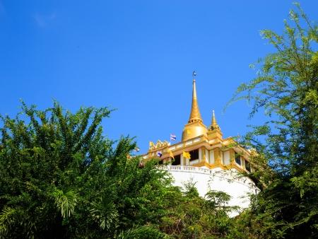 Golden mountain, an ancient pagoda at Wat Saket temple in Bangkok, Thailand photo
