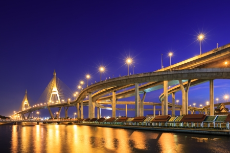 Curve of expressway by river in Bangkok at night photo