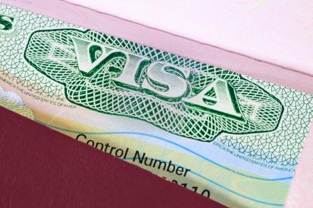 passeport: Visa américain dans une macro de passeport Banque d'images