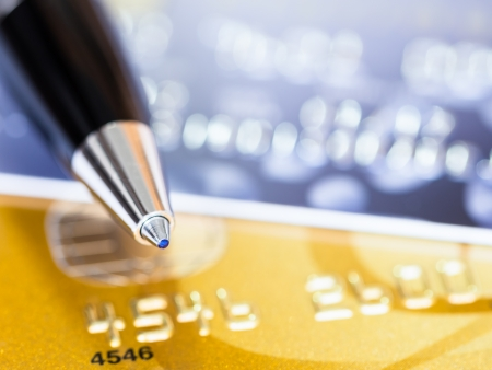 A pen on credit cards photo