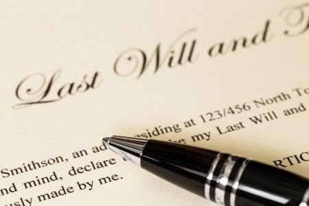 법률 문서에 대한 펜 개념 유언을 마지막으로 스톡 콘텐츠