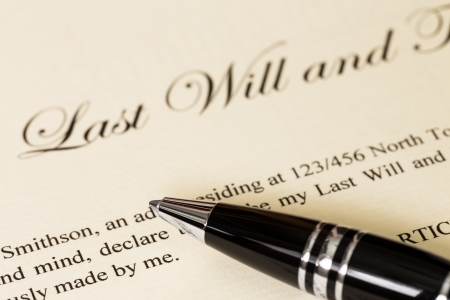 Last will and testament with pen concept for legal document photo