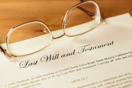 Last will and testament with glasses concept for legal document photo