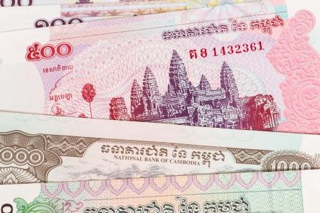 Cambodia riel money banknote close-up