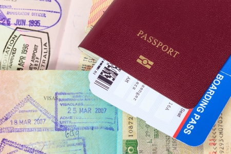 Passport, visa immigration stamps, and boarding pass 版權商用圖片 - 25278971
