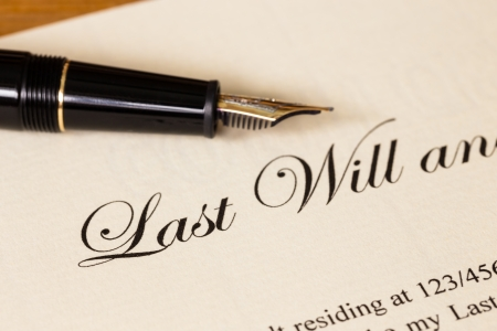 decease: Last will and testament with pen concept for legal document