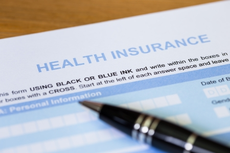 personal injury: Health insurance application form with pen concept for life planning Stock Photo