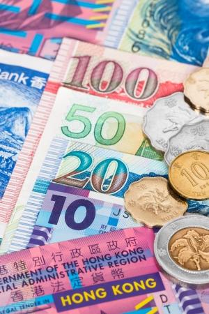 Hong Kong dollar money banknote close-up with coins photo