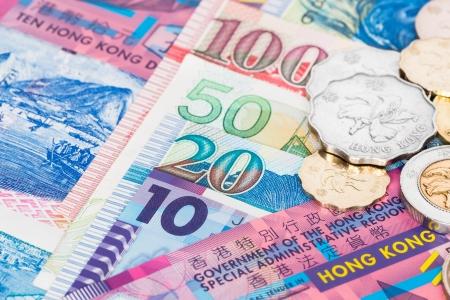 Hong Kong dollar money banknote close-up with coins Standard-Bild