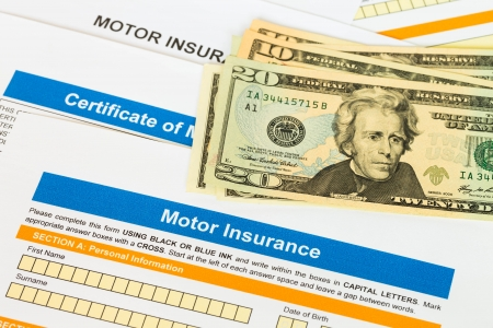 Motor or car insurance application with banknote photo