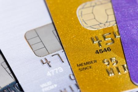 bankcard: Stack of credit cards, closeup, selective focus