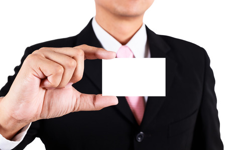 namecard: Businessman show blank namecard Stock Photo