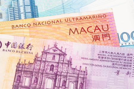 Macau pataca money banknote close-up photo