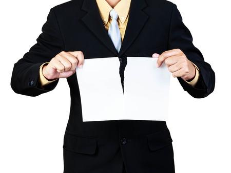lacrime: Uomo d'affari concetto carta lacrima per la rottura del contratto