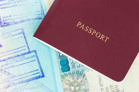 Passport and visa immigration stamps 版權商用圖片