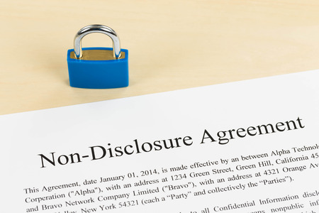 Non disclosure agreement document with padlock photo