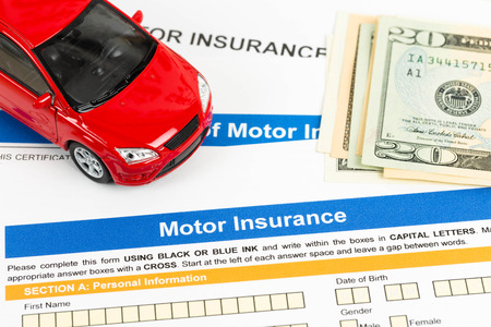 Motor or car insurance application with car model, and dollar banknote photo