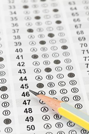 Filled answer sheet focus on pencil 版權商用圖片