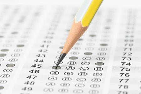 Filled answer sheet focus on pencil Standard-Bild