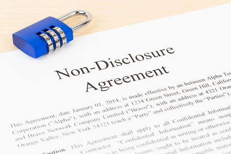 disclosure: Non disclosure agreement document with padlock