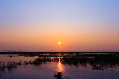 khan: Twilight at lake in Sam Roi Yod National Park, Prachuap Khiri Khan, Thailand Stock Photo