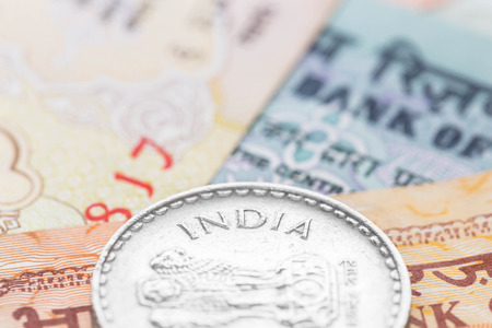 indian money: Indian money banknote focus on coin india