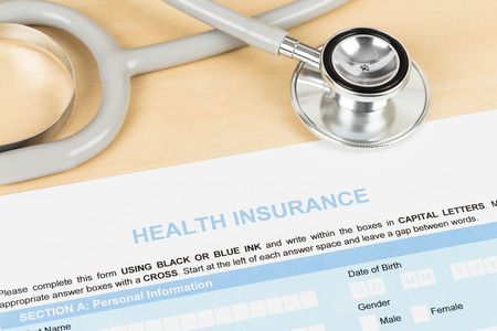 Health insurance application form with stethoscope concept for life planning