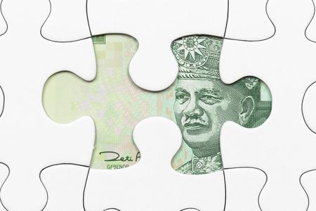 Malaysian ringgit banknote hidden under puzzle financial concept