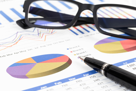 brand monitoring: Marketing report pie chart with graph analysis