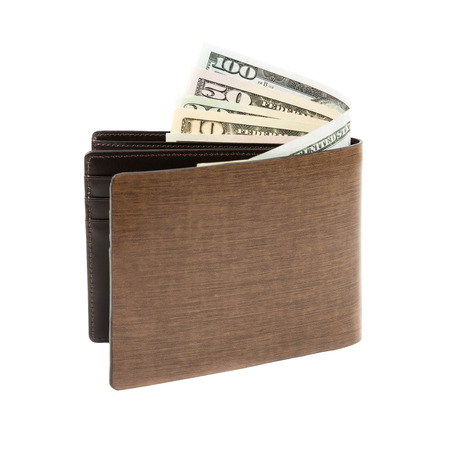 Money in brown leather wallet on white background