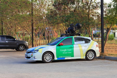 SUKHOTHAI, THAILAND - DECEMBER 27, 2014 : A Google Street View vehicle parked in a hotel in Sukhothai.It is used for mapping streets throughout the world.