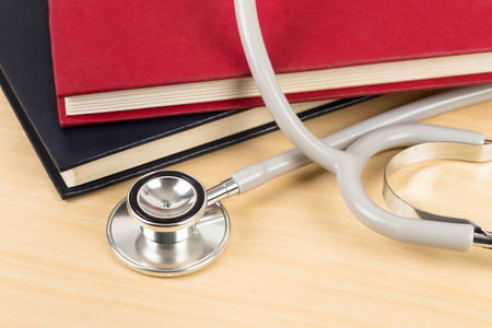 textbook: Stethoscope and textbook concept for medical education
