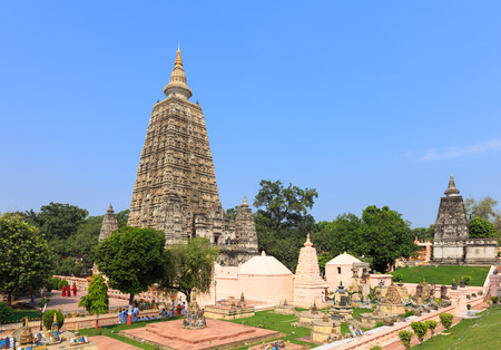 Mahabodhi tempel, Bodh Gaya, India. De site waar Boeddha verlichting bereikte. Stockfoto