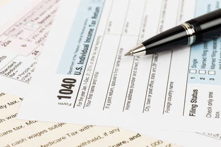 taxation: Tax form with pen taxation concept Stock Photo