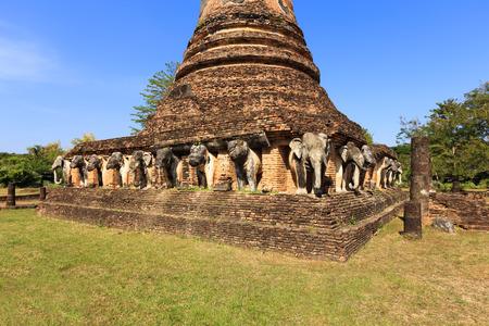 Elephan sculpture au Wat Chang Lom, Shukhothai Historical Park, Thaïlande