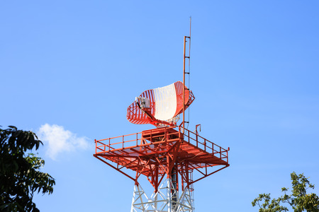 Radar tower in airport for air traffic control Stock Photo