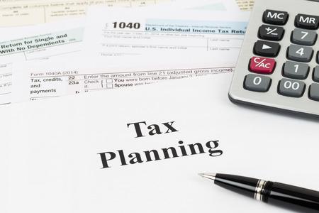 Tax planning wirh calculator taxation concept Standard-Bild
