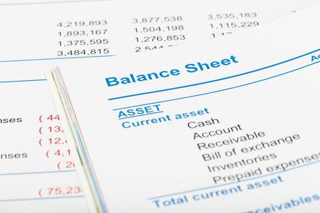 balanza: Balance en el libro de informes accionista, el documento es la maqueta